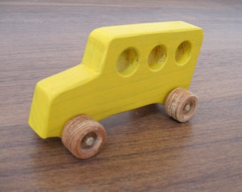 School bus toy - yellow wooden car