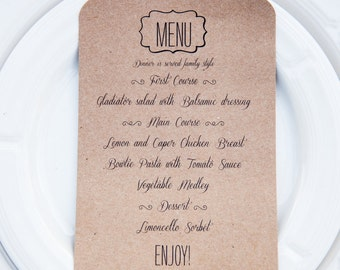DIGITAL Custom Dinner Menu for Wedding, Engagement party, Dress Rehearsal Dinner, Parties