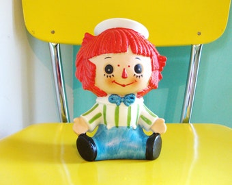 ON SALE Vintage Raggedy Andy Figurine Vintage Ceramic Night Light Kids Room Decor Nursery Accents