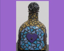 HEARTS with lots of color in the Patron bottle - Mosaic Patron for your home or bar W206