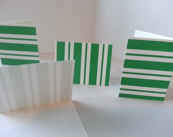 Set of 4 - Green and White Stripes Folded Gift Tags