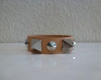 Natural leather spike bracelet