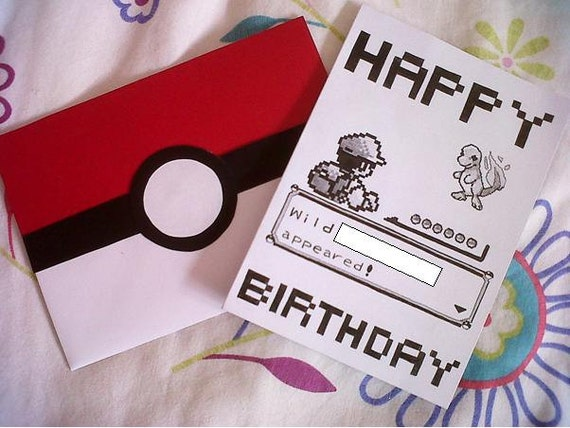 handdrawn pokemon battle birthday card, Birthday card