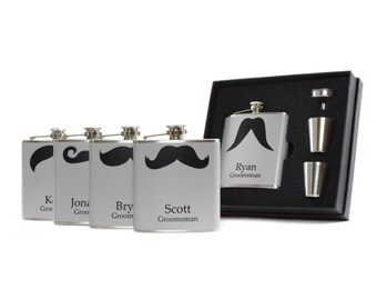 Personalized Gray Mustache Flasks for Groomsmen Gifts // Set of 5