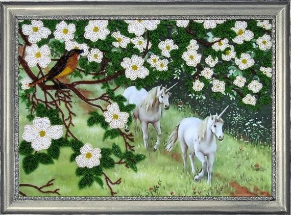 Unicorns DIY beaded embroidery kit, Wall Art, Room Decor, Housewarming Gift Idea