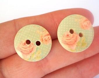 Pretty Blue Polka Dot Floral Button Stud Earrings, Shabby Chic, Cute, Feminine
