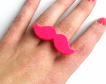 Cute Pink Adjustable Moustache Mustache Ring, Quirky, Retro, Movember, Geekery, Geek, Nerd
