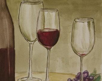 "This is a print of my original watercolor painting titled "" Wine anyone"" 5 x 7, 8 x 10, 11 x14, wrapped canvas and note cards"