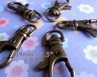 39mm / 1.5 inch Long Swivel Clips in Antique Brass, Gun Metal, Gold, and Antique Brass Finish - Choose from 240, 600 & 1500 pieces