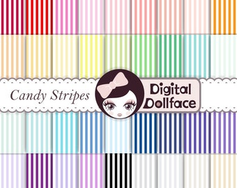 Candy Stripe Digital Paper, Commercial Use, Printable Pattern, Background