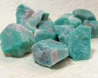 Rough Amazonite - 10 Pieces of Natural Amazonite in a Gift Bag