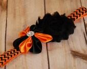 Halloween Headband, Orange and Black,  Halloween Baby,  hard headband, hair bow, Toddler Headband, Teen Headband,  Adult Headband