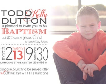 Boy or girl birthday party, baptism or other event invitation.  Custom made with your own photo.