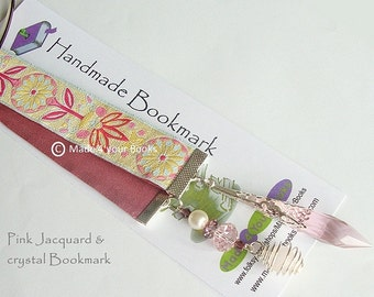 Jacquard ribbon Crystal bookmark