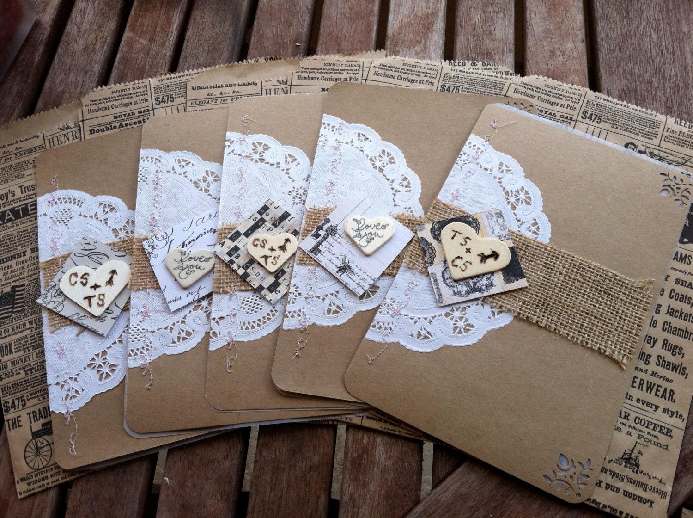 Vintage Handmade Wedding Invitations: Vintage Handmade Wedding Invitations By Twobirdsinparadise