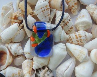 fused glass necklace, blue green orange glass pendant necklace,  blue orange green fused , gift for her,blue pendant