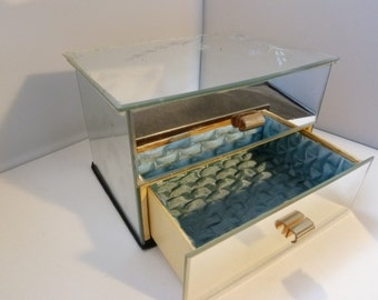 vintage French  trinket box 2 Drawer Glass Mirrored  trinket box Jewelry Box O/1/6