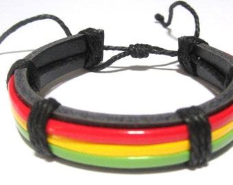 Handmade Leather Rasta Bracelet