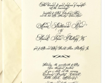 Custom Calligraphy Wedding Invitation--Hand Written Invitation