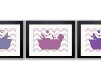 Bathroom Decor Bathroom Print Purple Plum Lime Green Set of 3