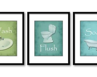 Bathroom Decor Bathroom Print Lime Green Turquoise Set Of 3 Bathroom Art Prints Flush Wash Soak
