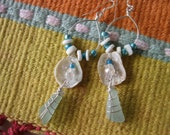 Hilo Beach Glass earrings, wire wrapped on a hoop with shells, crystal and sterling silver ear wire