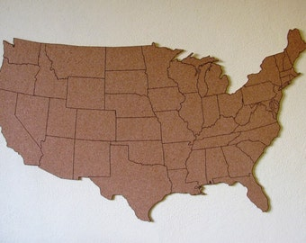 Corkboard Map Of US With Outline Of States Size M Measures - Us travel map on cork board