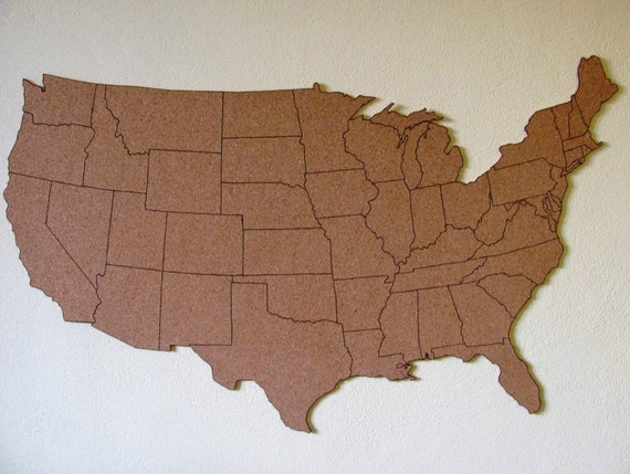 Corkboard map of US with outline of states Size M measures