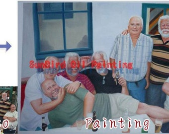 Custom oil portrait painting,original oil painting,family portrait on canvas from photos,custom oil portrait in any size,Seven Person