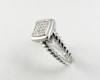 Natural Diamond Cluster Ring 925 Sterling Silver
