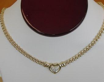 Genuine Diamond Heart Necklace 14kt Yellow Gold