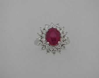 Natural Ruby with Natural Diamond Ring Solid 14kt White Gold