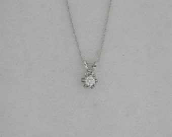 Buttercup Genuine Diamond Solitaire Pendant With 14KT White Gold