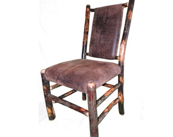 Rustic Hickory Upholstered Seat and Back Dining Chair shown with Faux Leather Fabric
