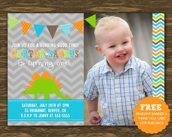 Dinosaur Birthday Invitation - Printable - FREE pennant banner and thank you card with purchase