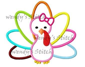 Thanksgiving girl turkey applique machine embroidery design