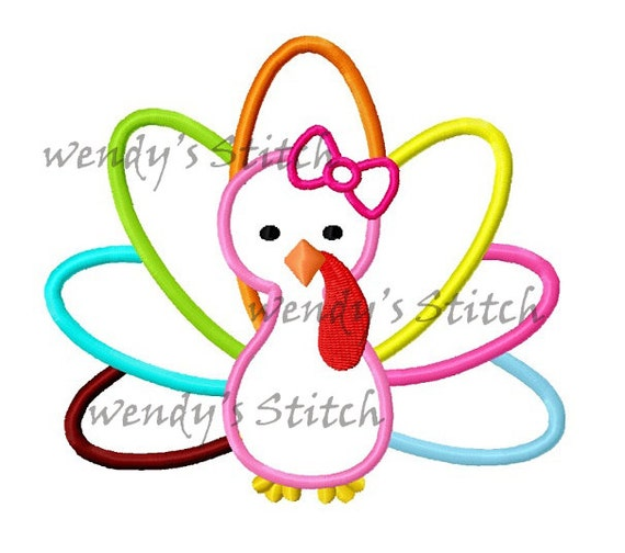 Thanksgiving girl turkey applique machine embroidery design
