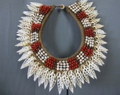 Papua New Guinea Seeds And Shells Necklace.Coral Cut Leaves- Like Ornament. Bride Payment Exchange Gift
