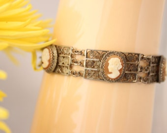 Victorian Cameos /Cameo  bracelet.Scroll work!