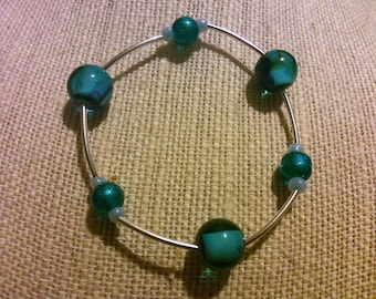 Blue beaded bracelet with metal tubing FREE SHIPPING