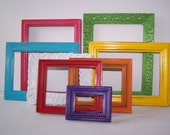 Vintage Set of 8 Upcycled Frames Colorful Boho Shabby Home Nursery Child Decor - bauble2bijou