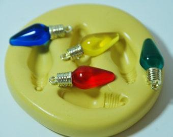 0172-Mini Christmas Light Bulbs Silicone Rubber Flexible Food Safe Mold- wax, soap, resin, plaster, fondant, cake, jewelry, chocolate, UTEE