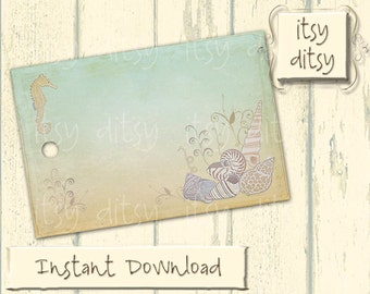 Beach tags - Beach favor tags -Destination wedding / Sea themed printable tags - digital seahorse and shells name cards  - Instant Download