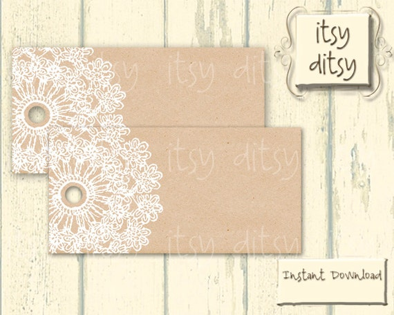 Printable Gift Tags Wedding: Rustic Favor Tags Wedding Printable Lace By Itsyditsydesigns