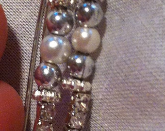 Adorn your recovery with dangling kidney shaped whimsical pierced earrings featuring rhinestones & pearls to match my recovery bracelets.