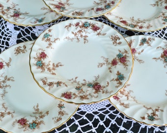 Matching Set of 6 Vintage Mintons English Bone China Tea Plates - Ancestral Design