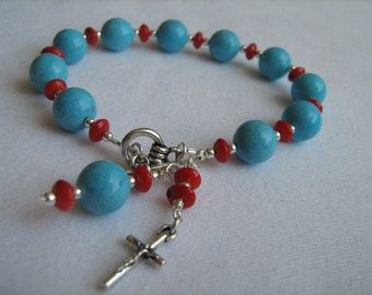Turquoise Colored Magnesite and Red Coral Chaplet (Rosary) Bracelet