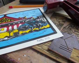 Taipei Taiwan, Linocut Art Print, Color Print, Original, 8.5x6 inches, Asian Art
