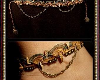 Gold and green ankle bracelet hippie Macrame Ankle brass beaded foot jewelry beach wedding bohemian gipsy jewelry