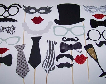 Vintage Inspired Classy Wedding Photo Booth Props 25 piece Black & White Photobooth Mustache on a Stick Glitter Props Valentine Photo Booth